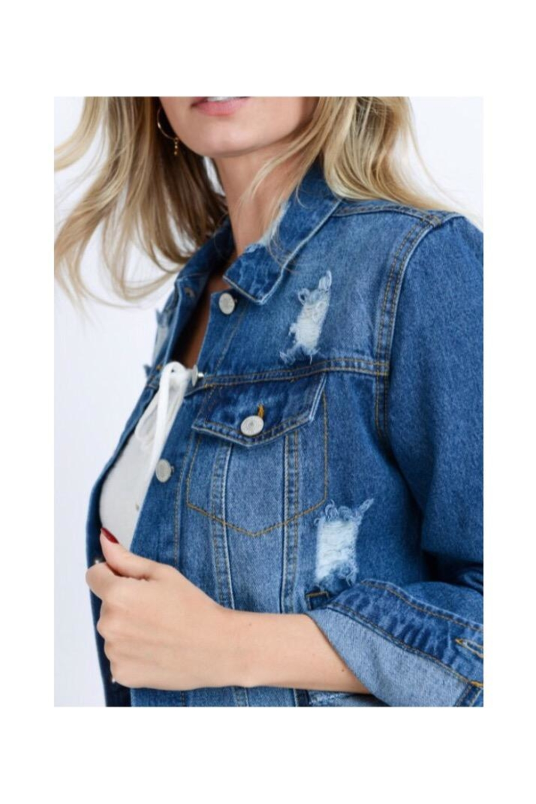 Love Tree Distressed Jean Jacket - Front Full Image