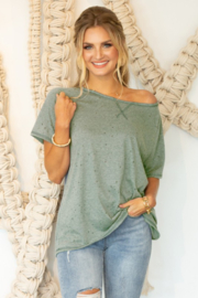 Ninexis Distressed Jersey Top - Product Mini Image