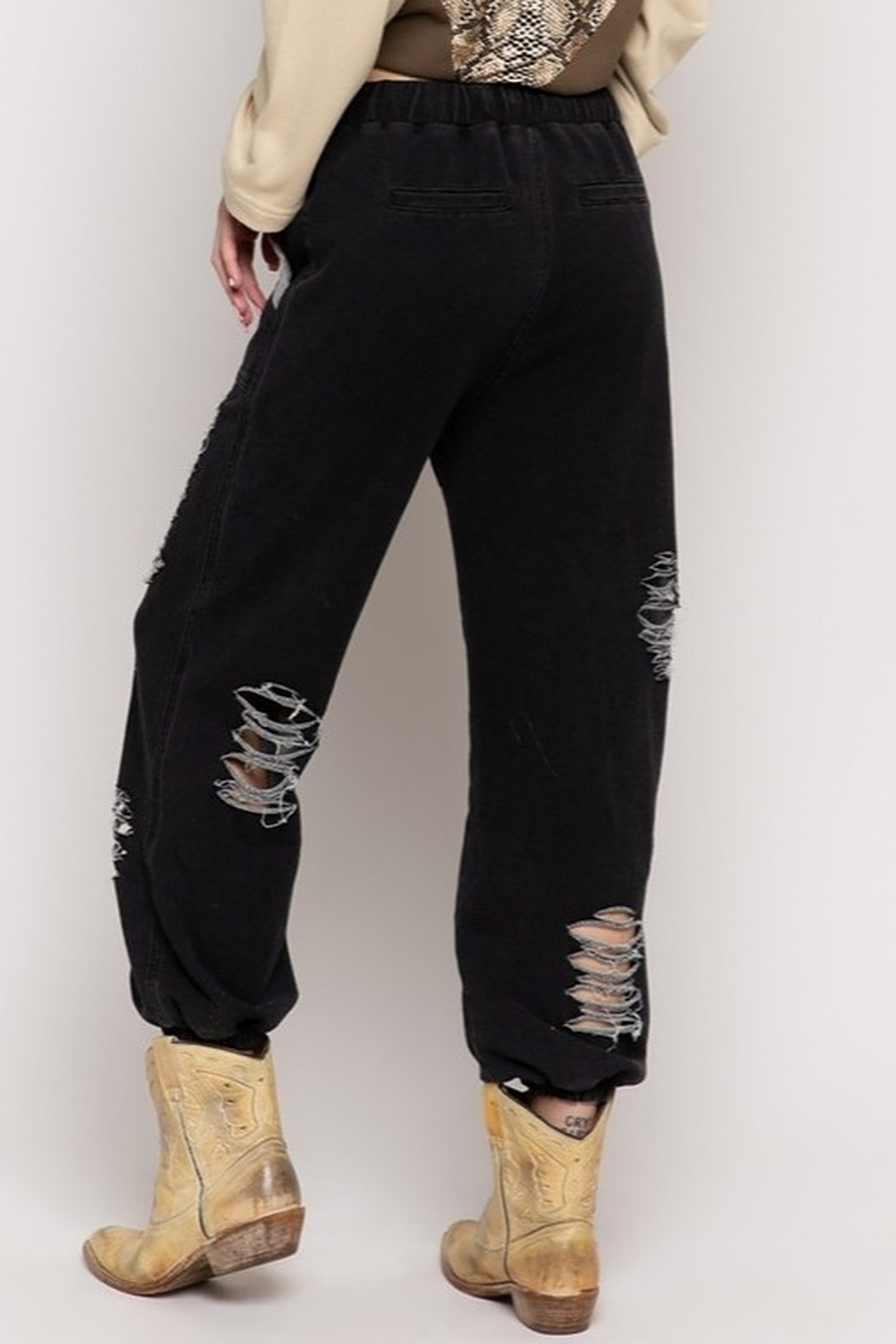 POL Distressed Jogger Pants - Front Full Image