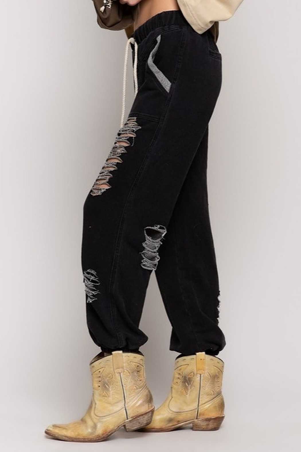 POL Distressed Jogger Pants - Side Cropped Image