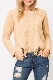 Cozy Casual Distressed Knit Sweater - Product Mini Image