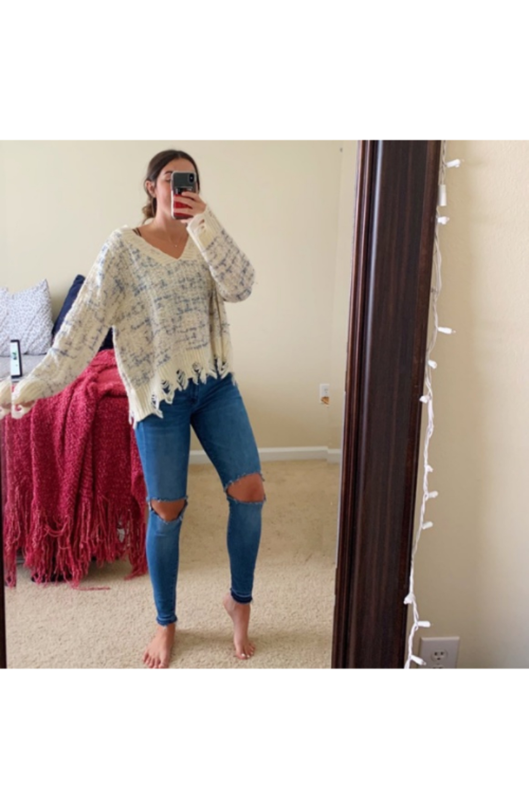 She and Sky DISTRESSED KNIT SWTR - Main Image