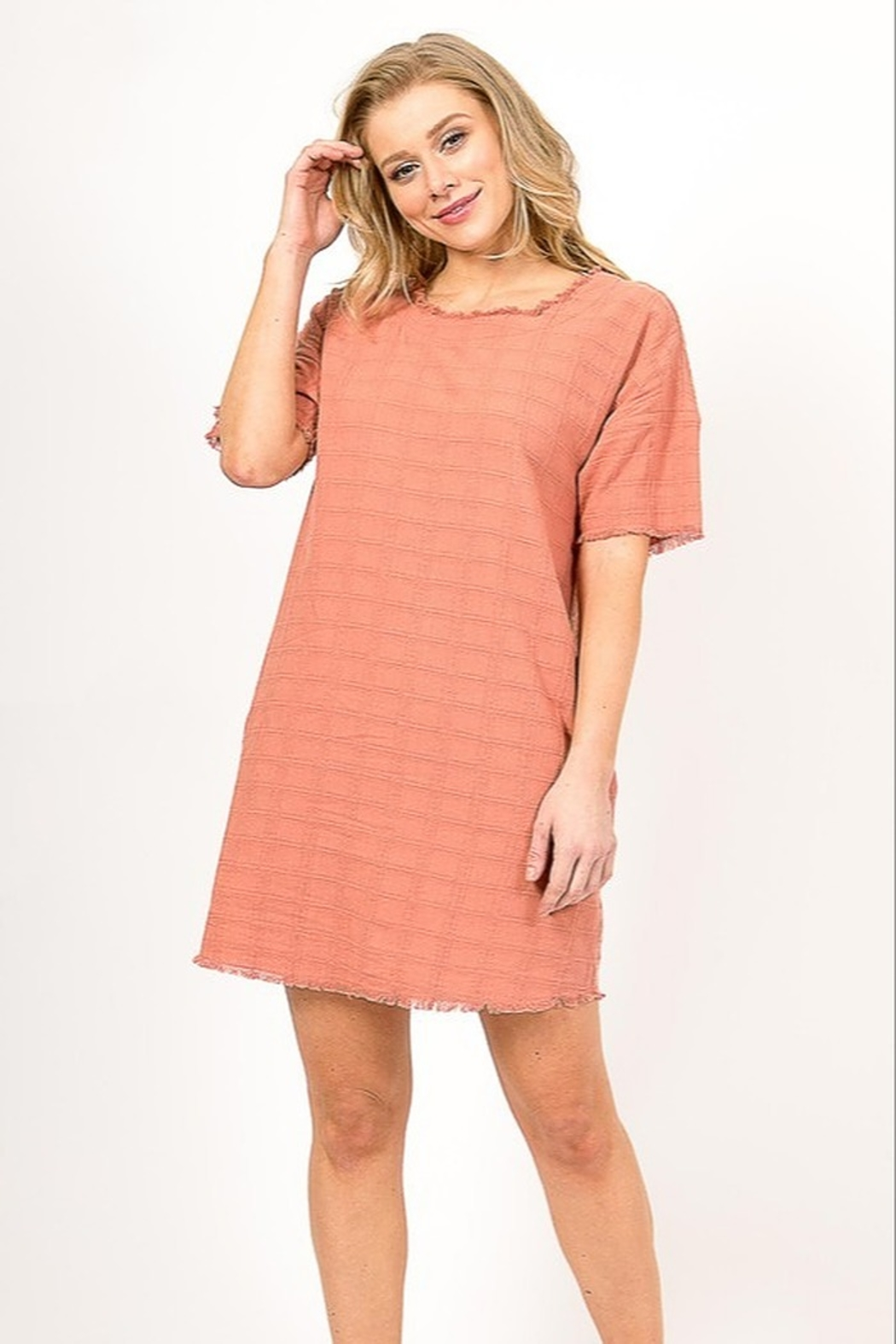Very J  Distressed Linen Dress - Front Cropped Image
