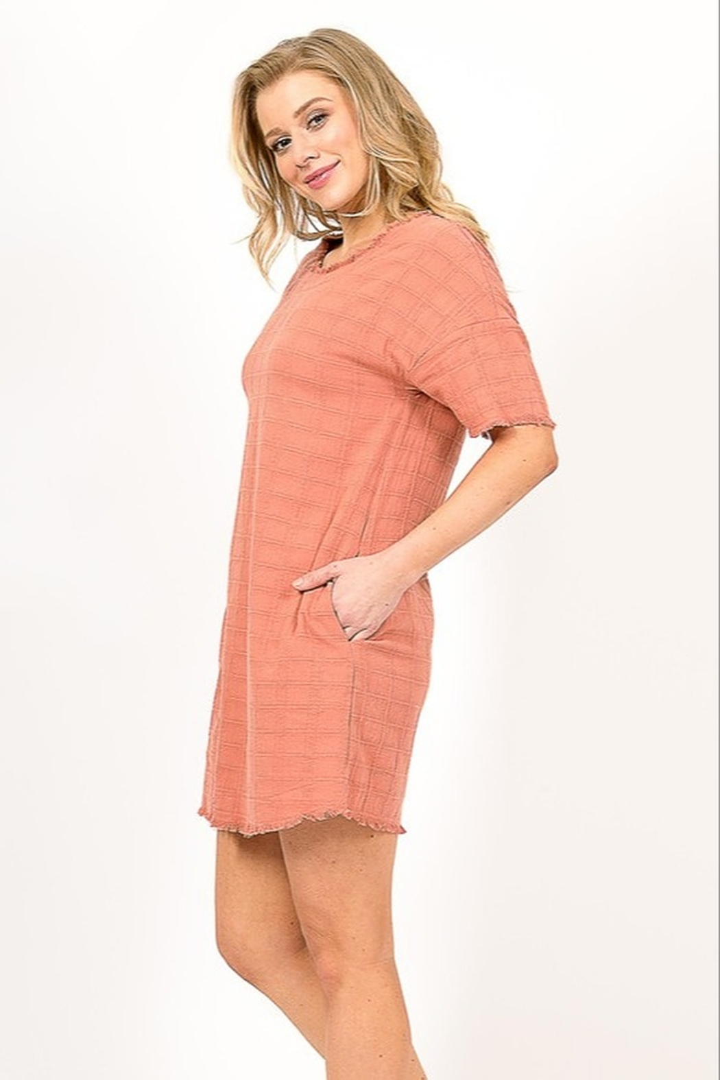Very J  Distressed Linen Dress - Front Full Image