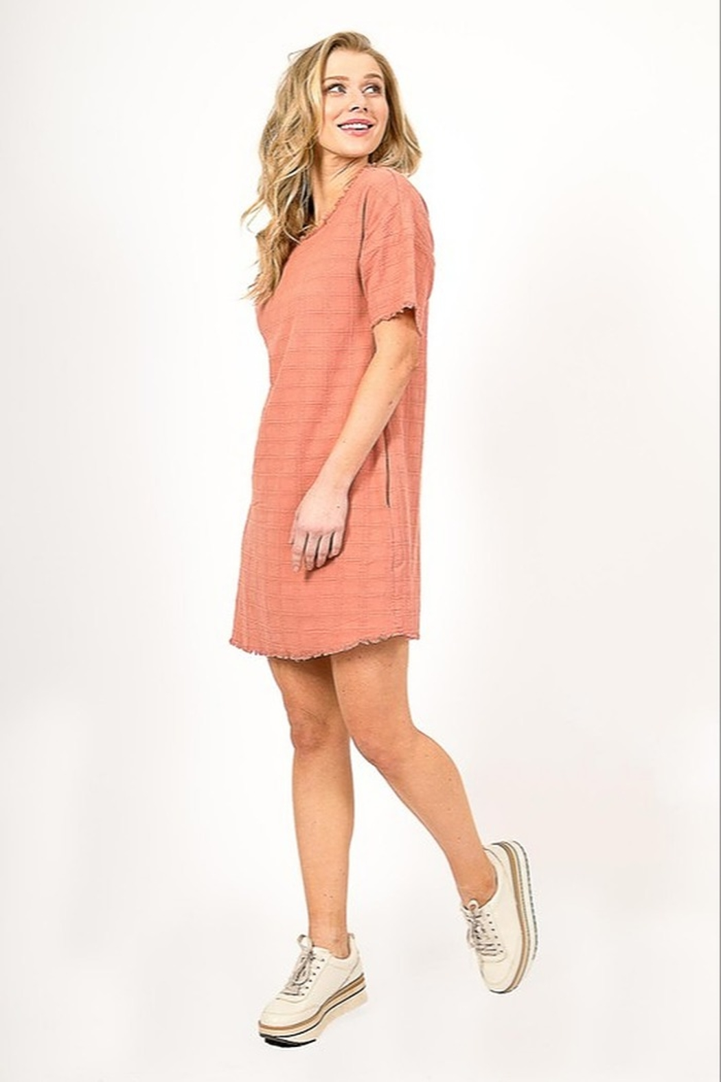 Very J  Distressed Linen Dress - Back Cropped Image
