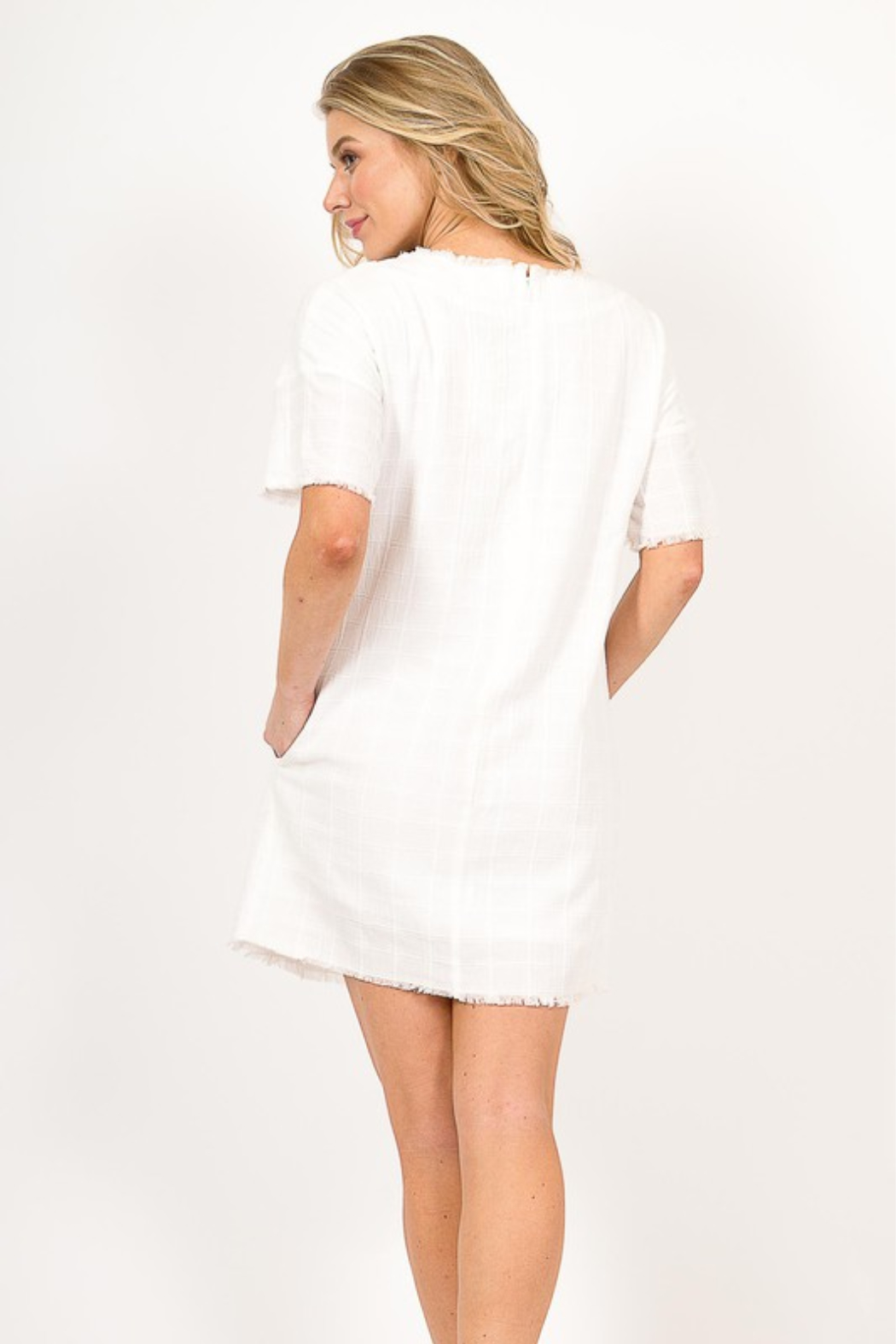 Very J  Distressed Linen Dress - Side Cropped Image