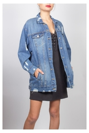 Love Tree Distressed Long Denim-Jacket - Product Mini Image