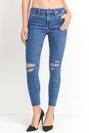 just black Distressed Medium Denim - Product Mini Image