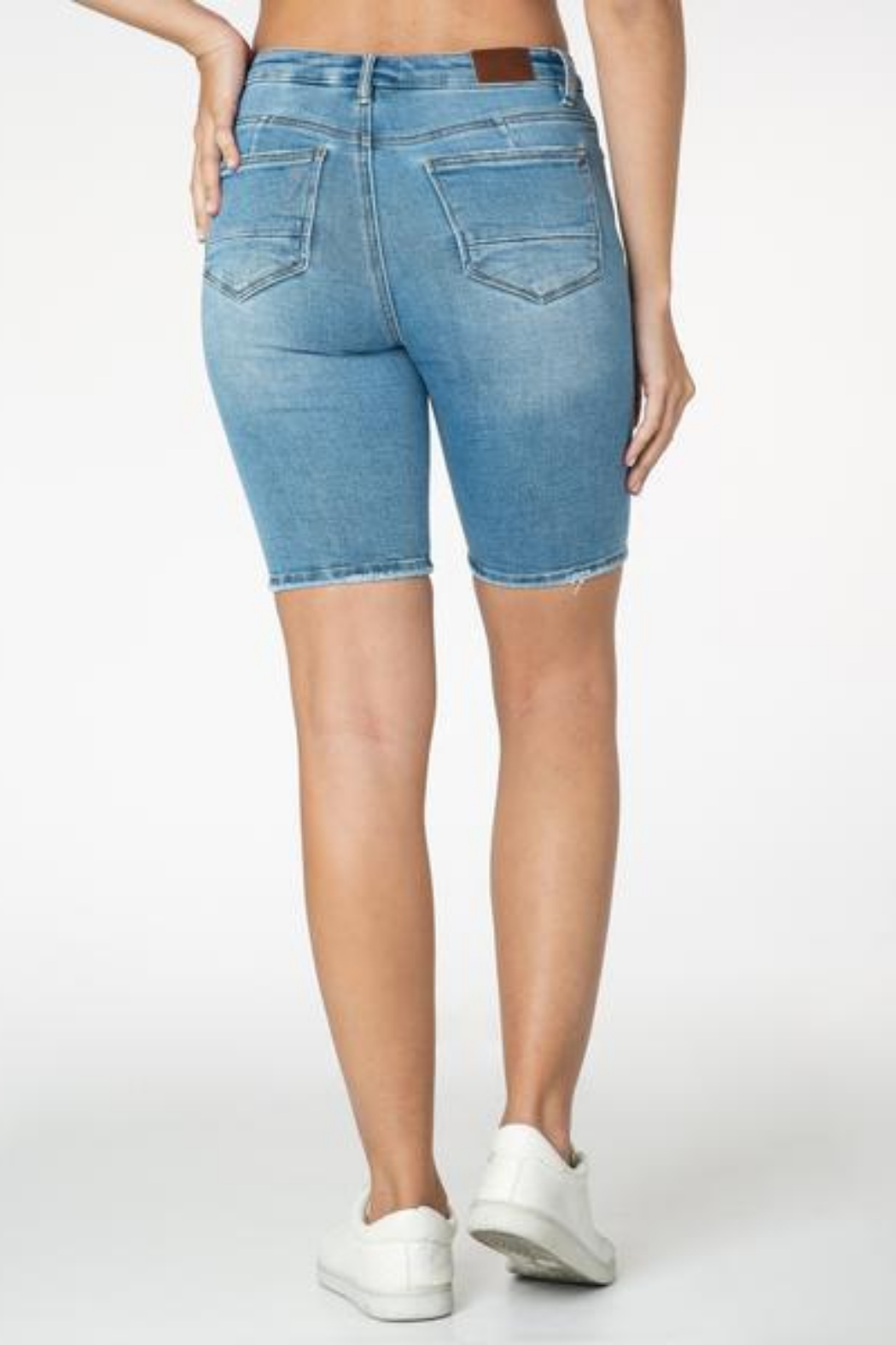 Funky Soul  Distressed Mid Rise Bermuda Short - Front Full Image