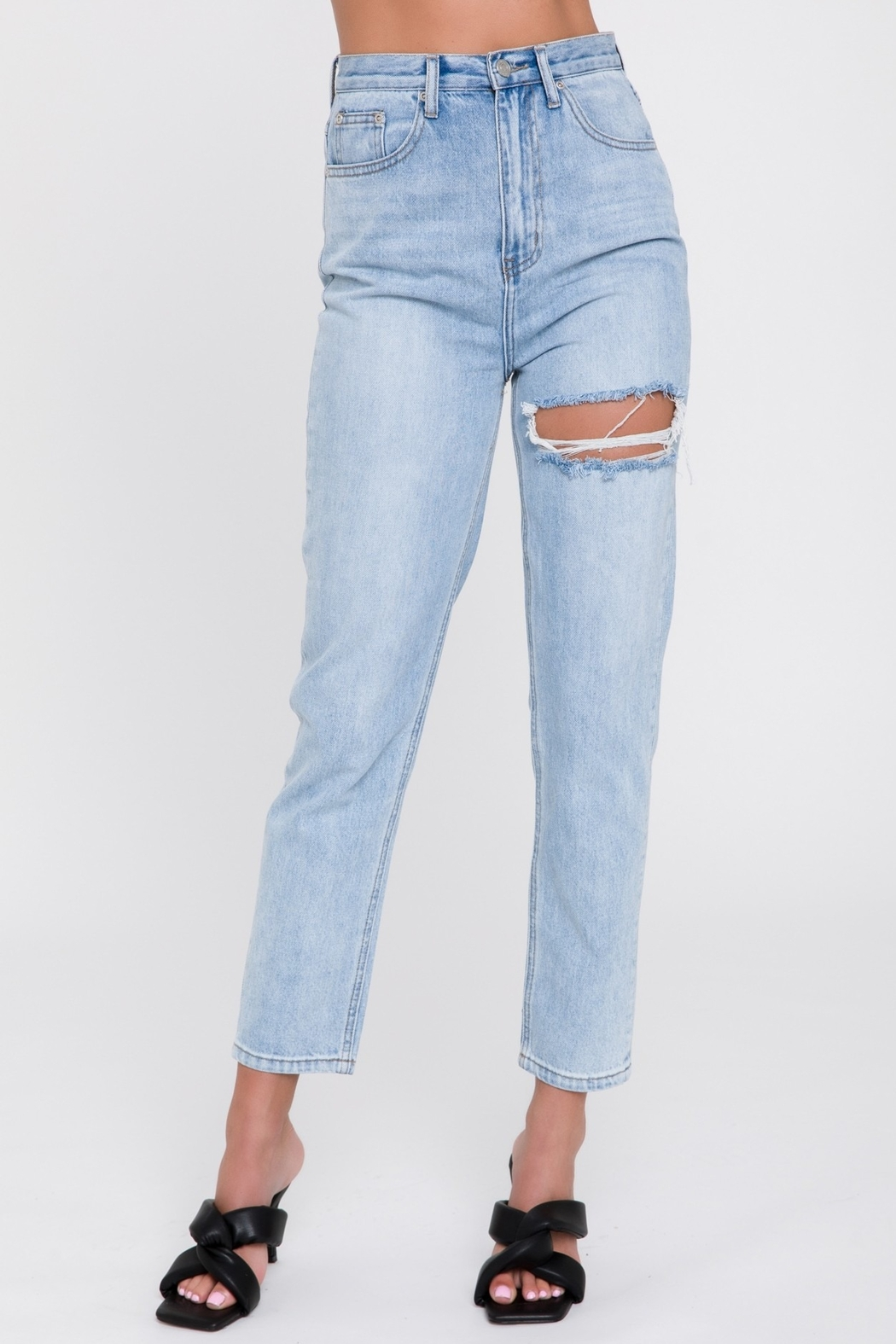 Endless Rose Distressed Mom Jean - Back Cropped Image