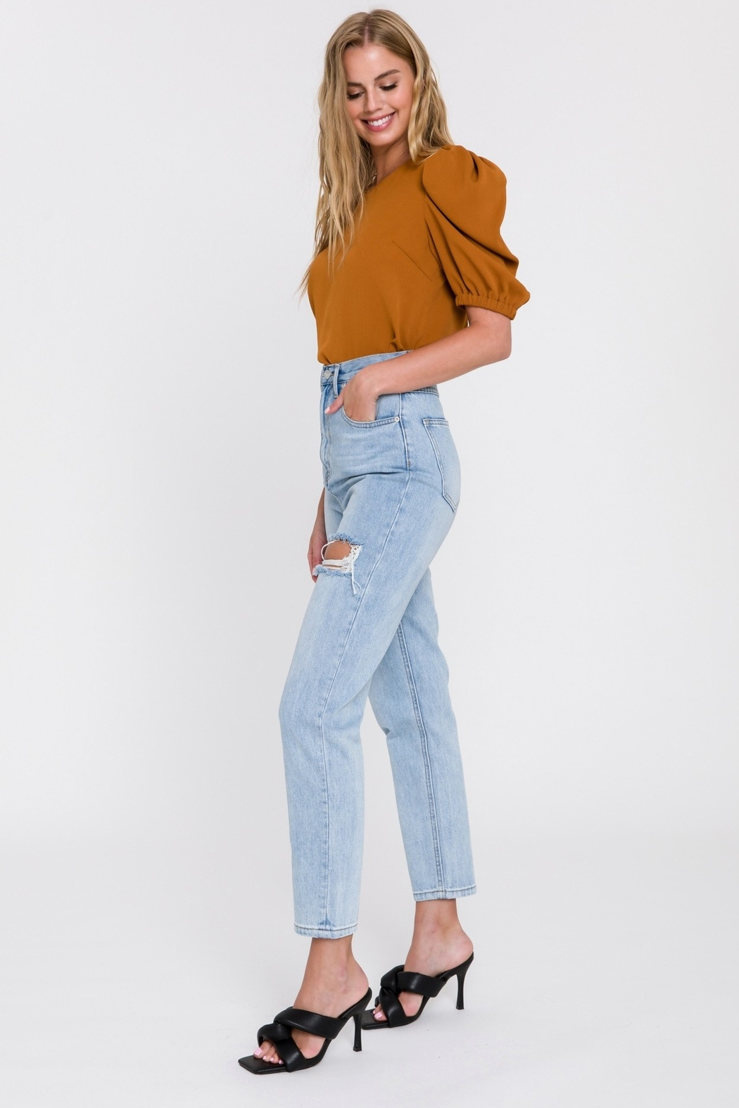 Endless Rose Distressed Mom Jean - Front Full Image