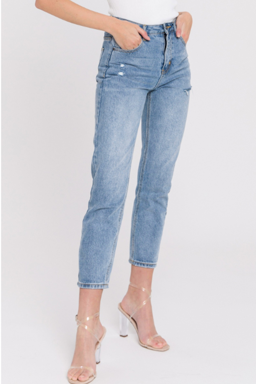 English Factory Distressed Mom Jean - Main Image