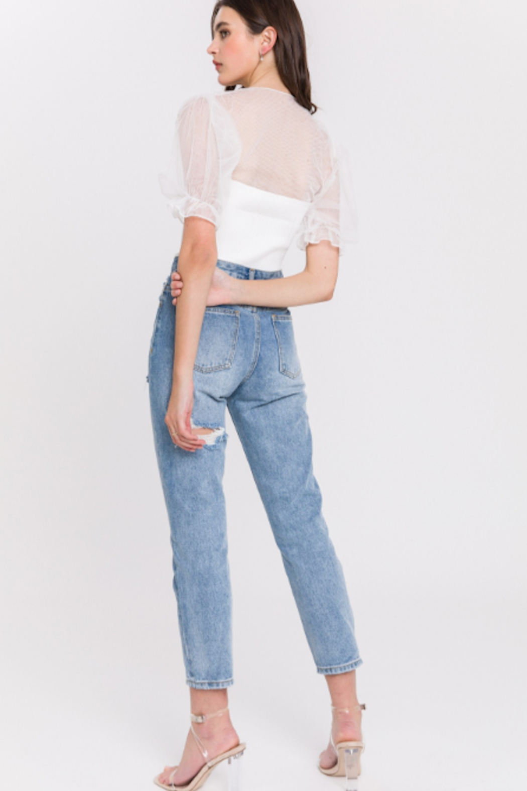 English Factory Distressed Mom Jean - Front Full Image