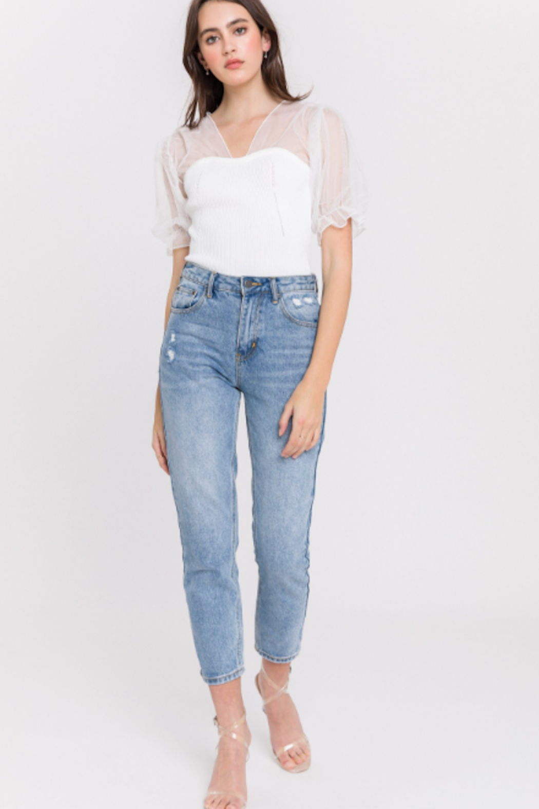 English Factory Distressed Mom Jean - Side Cropped Image