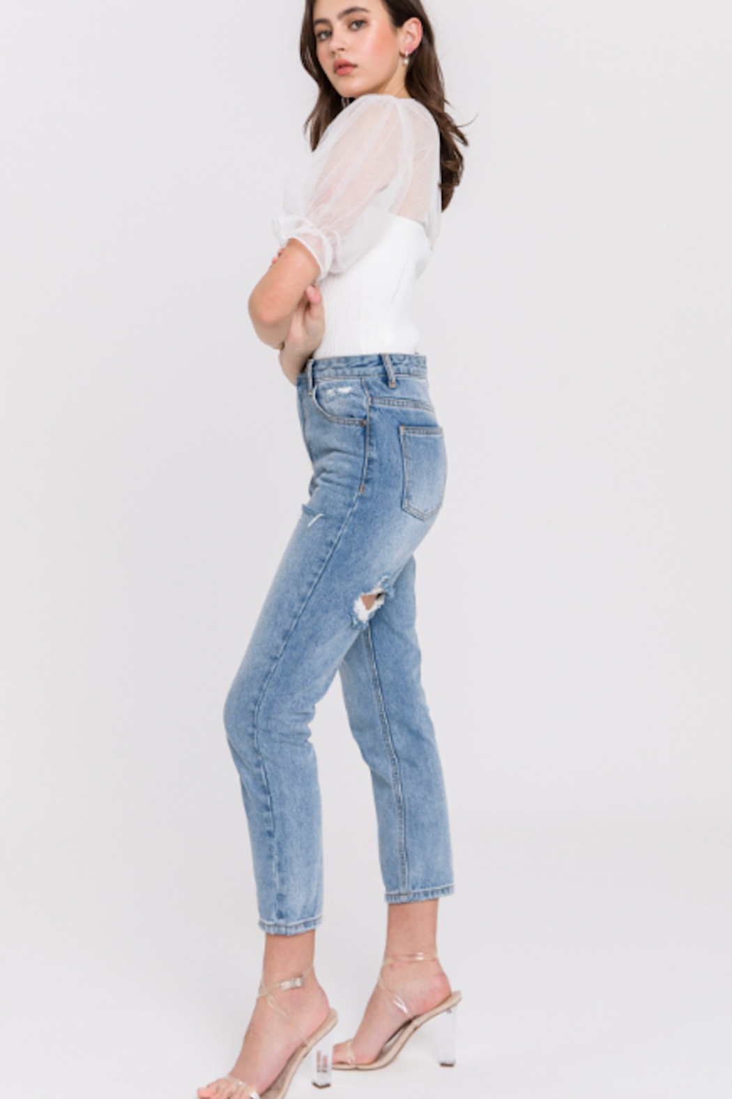 English Factory Distressed Mom Jean - Back Cropped Image