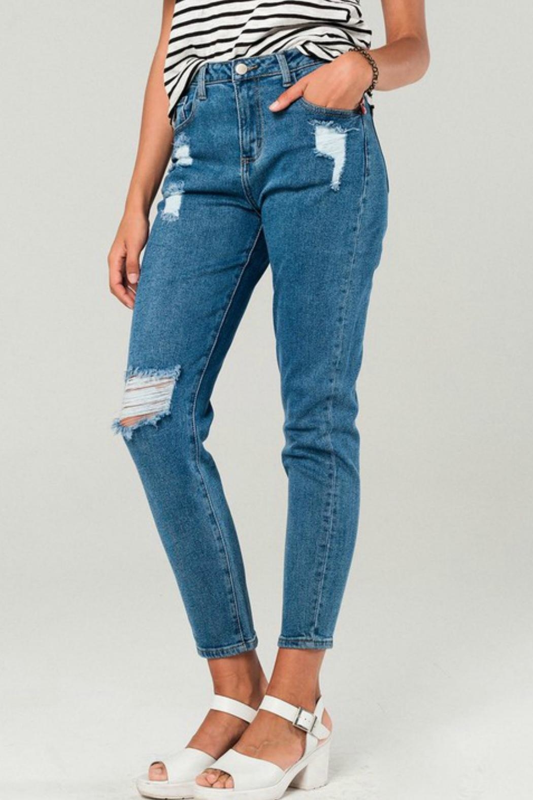 Q2 Distressed Mom Jeans - Front Full Image