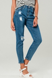 Q2 Distressed Mom Jeans - Product Mini Image