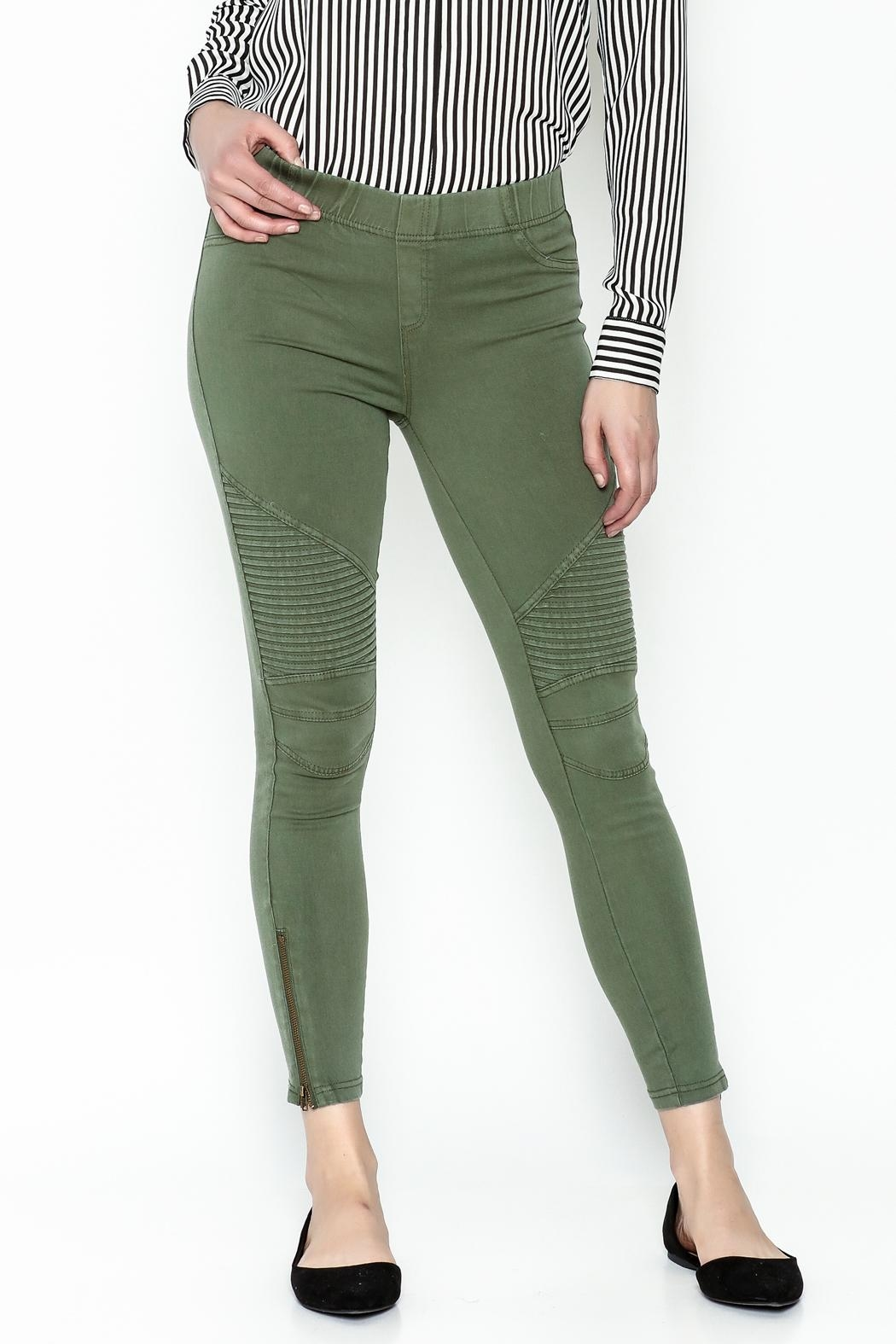 BEULAH STYLE Distressed Moto Pants - Back Cropped Image