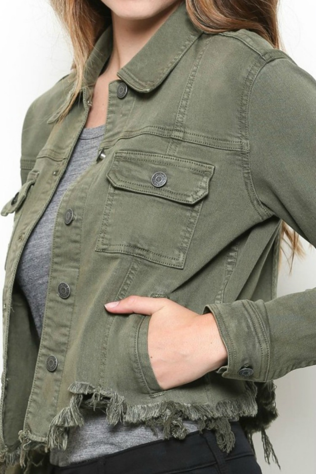 Hidden Jeans DISTRESSED & OUT MILITARY JACKET - Front Full Image