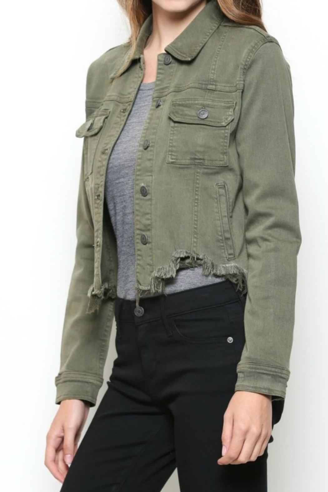Hidden Jeans DISTRESSED & OUT MILITARY JACKET - Front Cropped Image