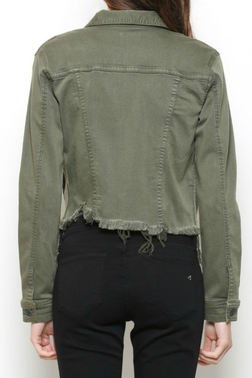 Hidden Jeans DISTRESSED & OUT MILITARY JACKET - Back Cropped Image