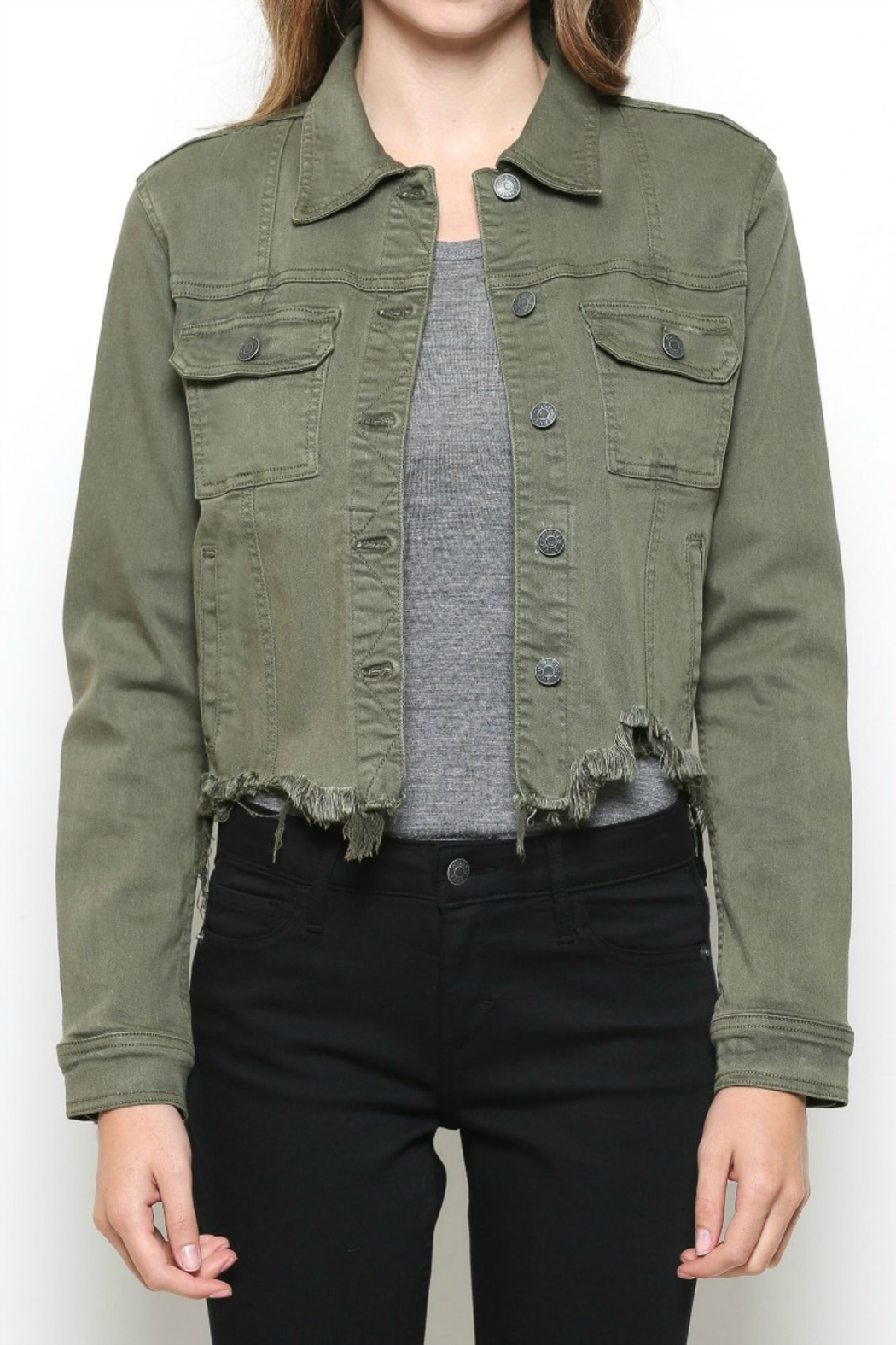 Hidden Jeans DISTRESSED & OUT MILITARY JACKET - Side Cropped Image