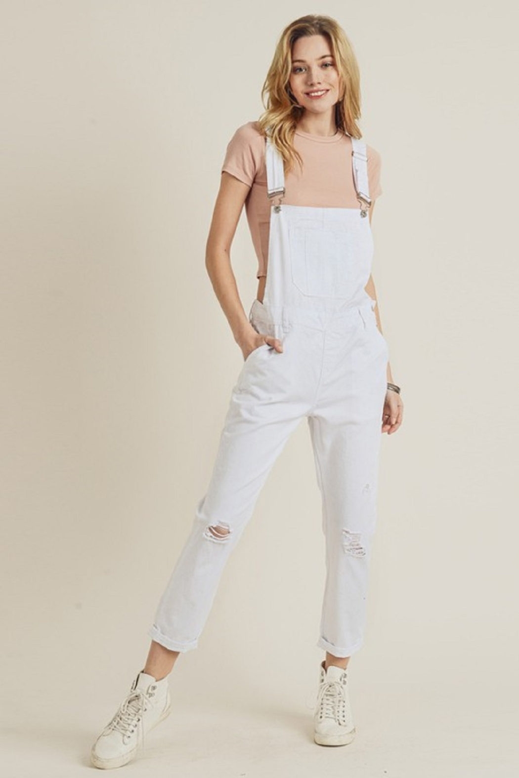 Risen Distressed Overall Jeans - Side Cropped Image