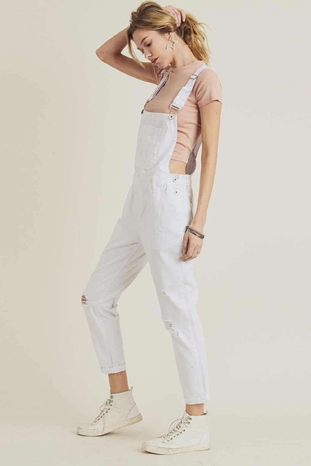 Risen Distressed Overall Jeans - Back Cropped Image