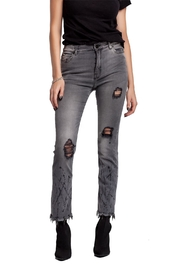 MOON DENIM Distressed Painted & Embellished Denim - Front cropped