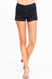 MONTREZ DISTRESSED POCKETED SIDE SLIT SHORTS - Front full body