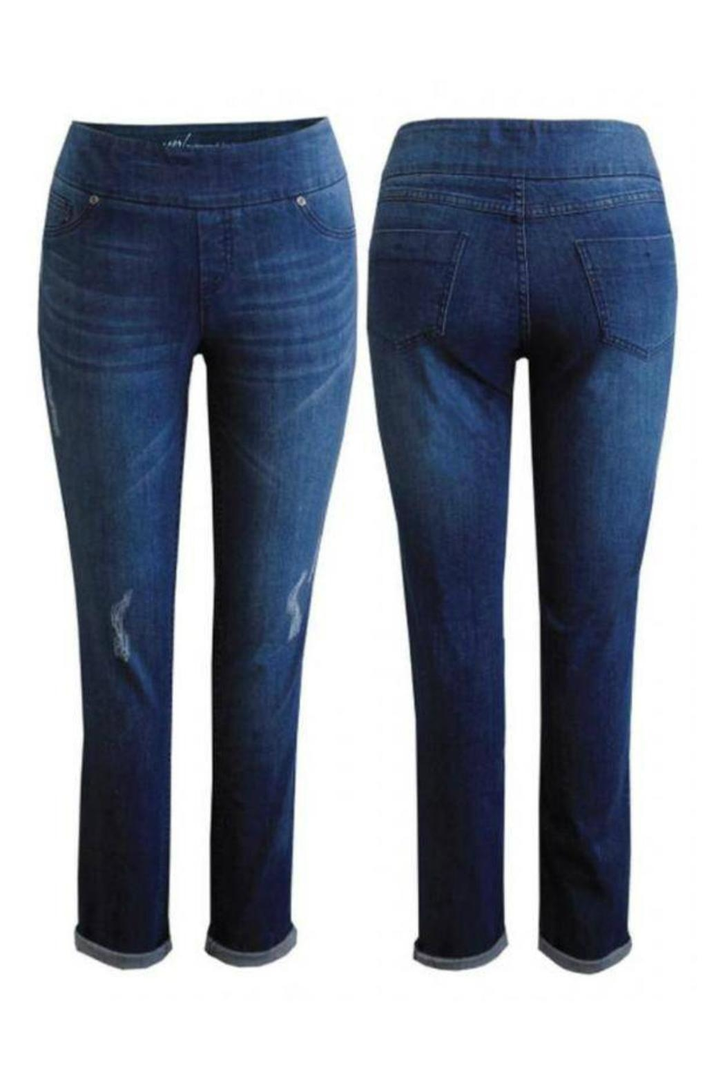 Up! Distressed Pull-On Jeans - Front Full Image