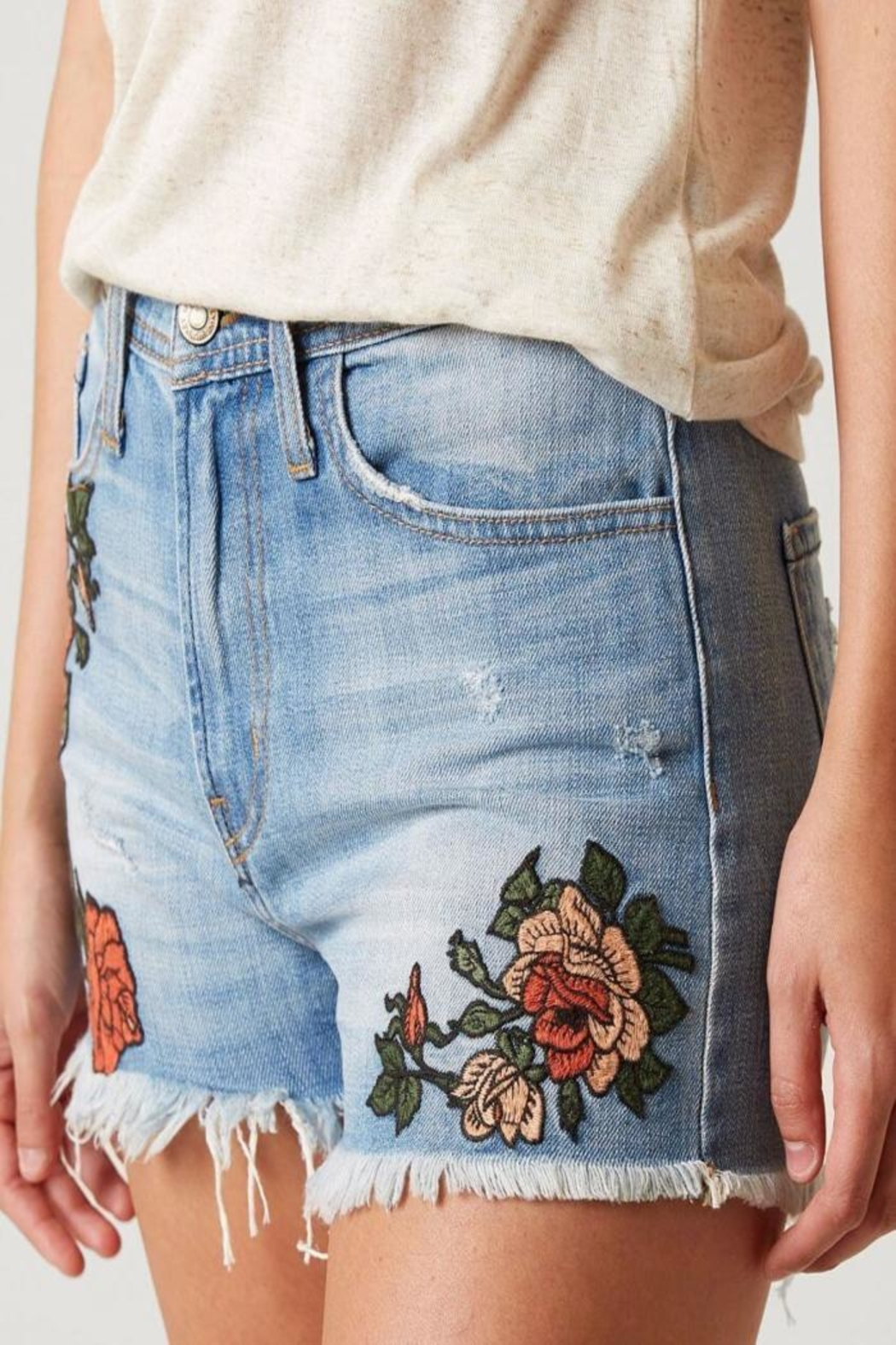 Flying Monkey Distressed Rose Embroidered - Side Cropped Image