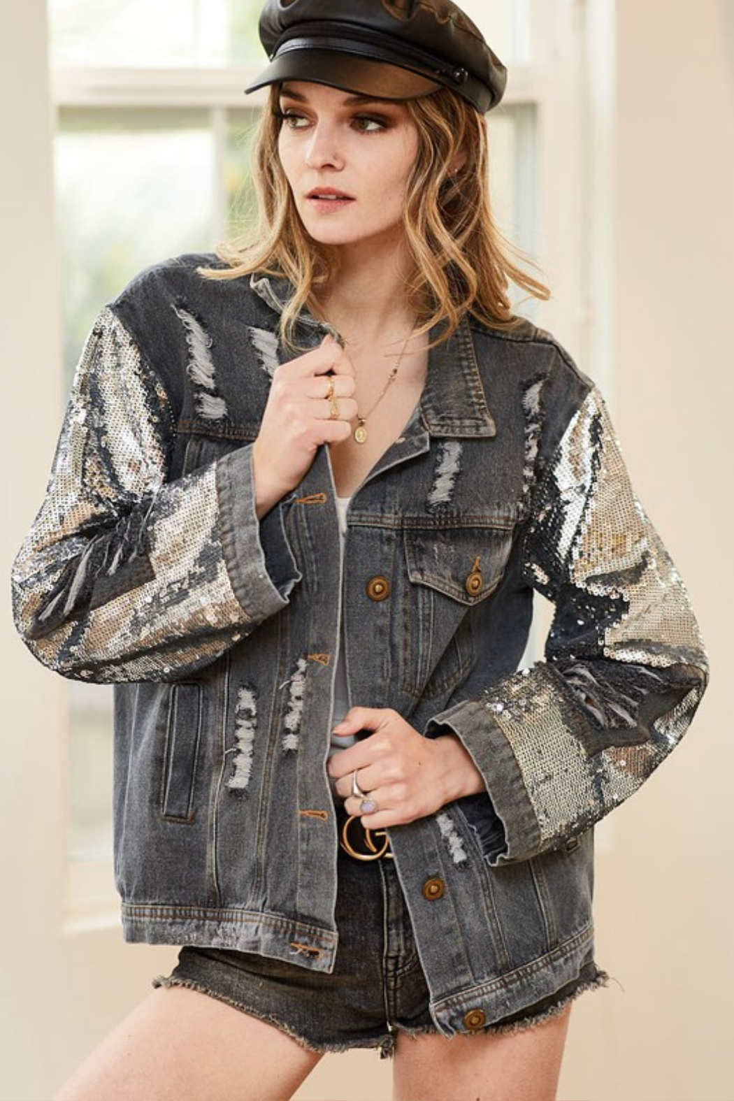 Bibi Distressed Sequin Denim Jacket - Front Cropped Image