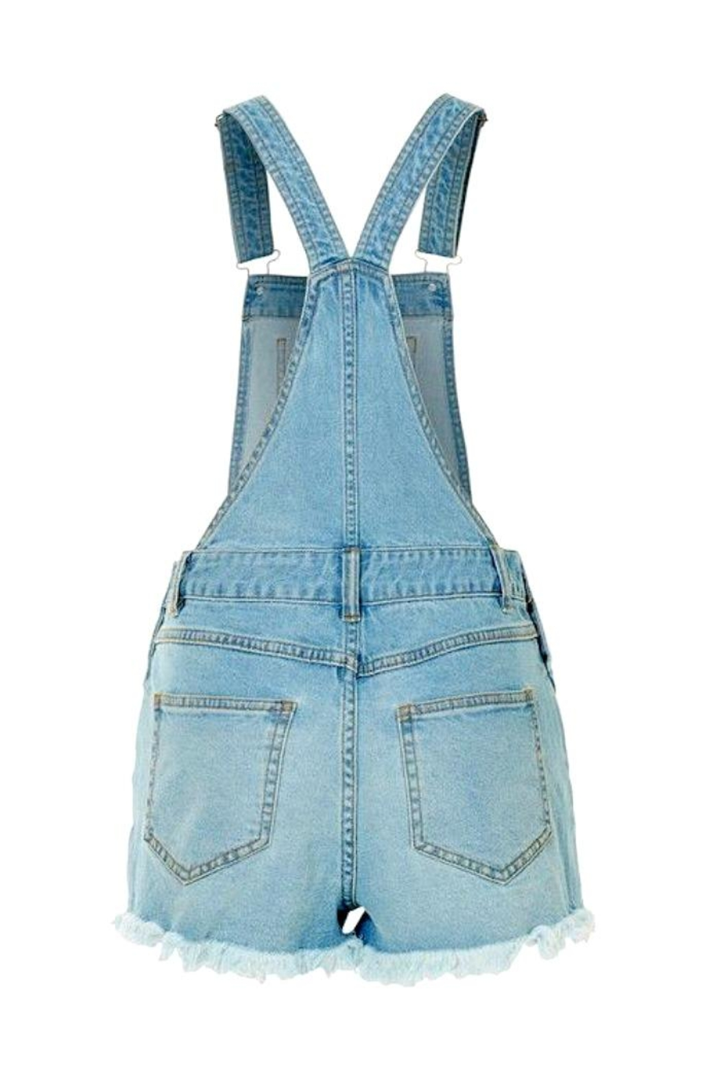 2Sable Distressed Short Overalls - Front Full Image