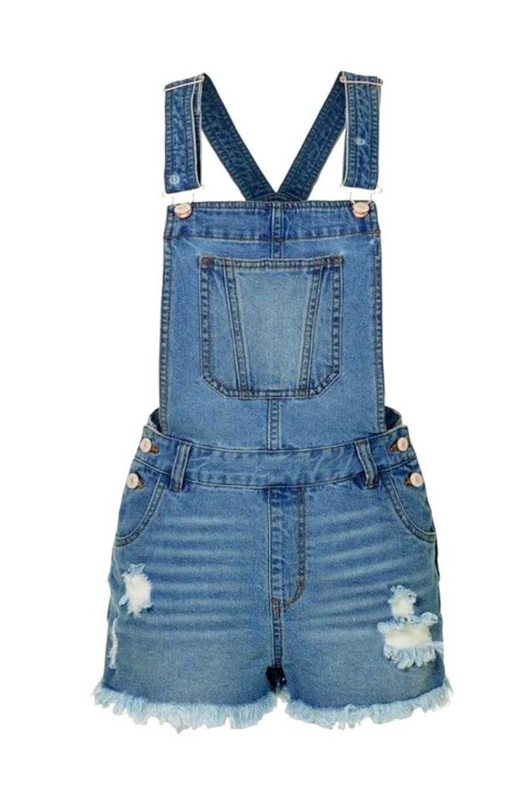 2Sable Distressed Short Overalls - Front Cropped Image