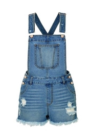 2Sable Distressed Short Overalls - Front cropped