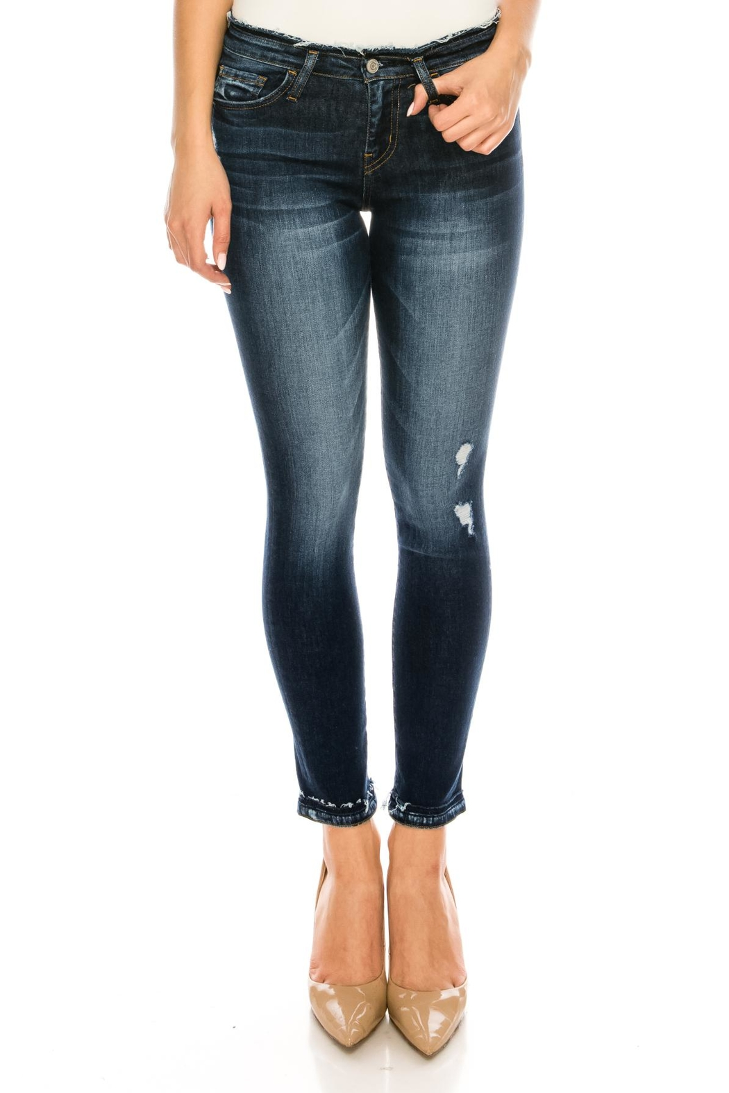 Flying Monkey Distressed Skinny Jeans - Main Image