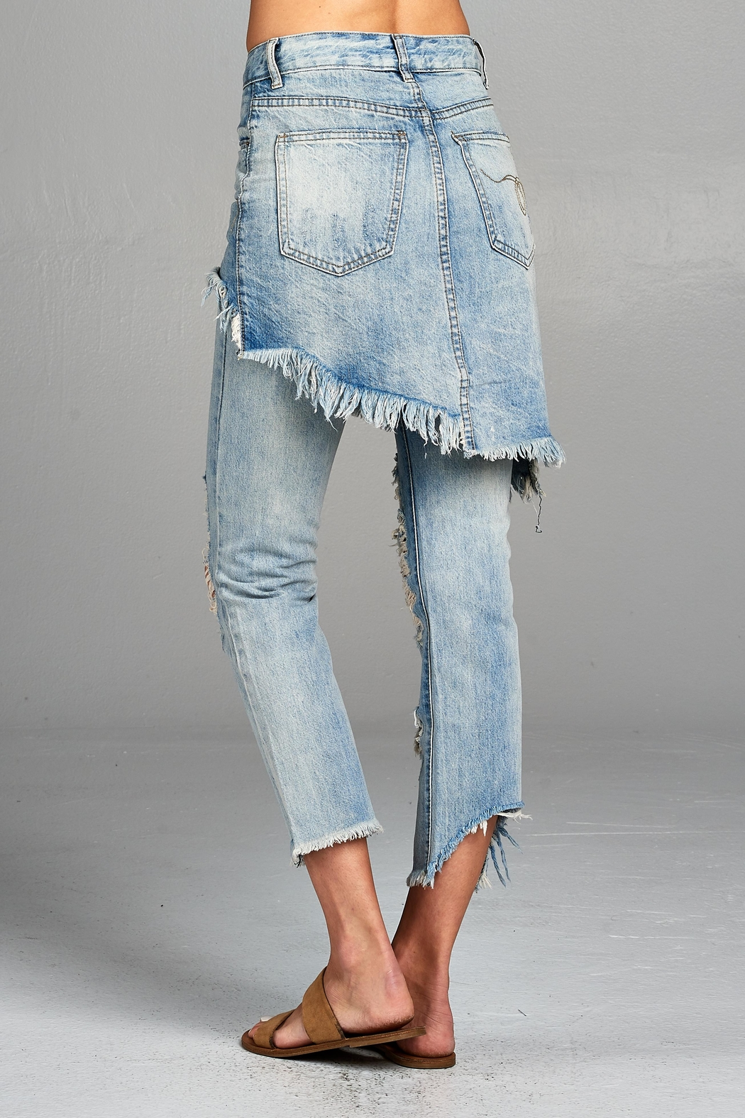 Racine Distressed Skirted Jeans - Side Cropped Image
