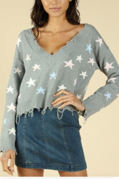Honey Punch Distressed Star Print Sweater - Product List Image