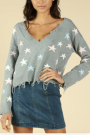 Honey Punch Distressed Star Print Sweater - Product Mini Image