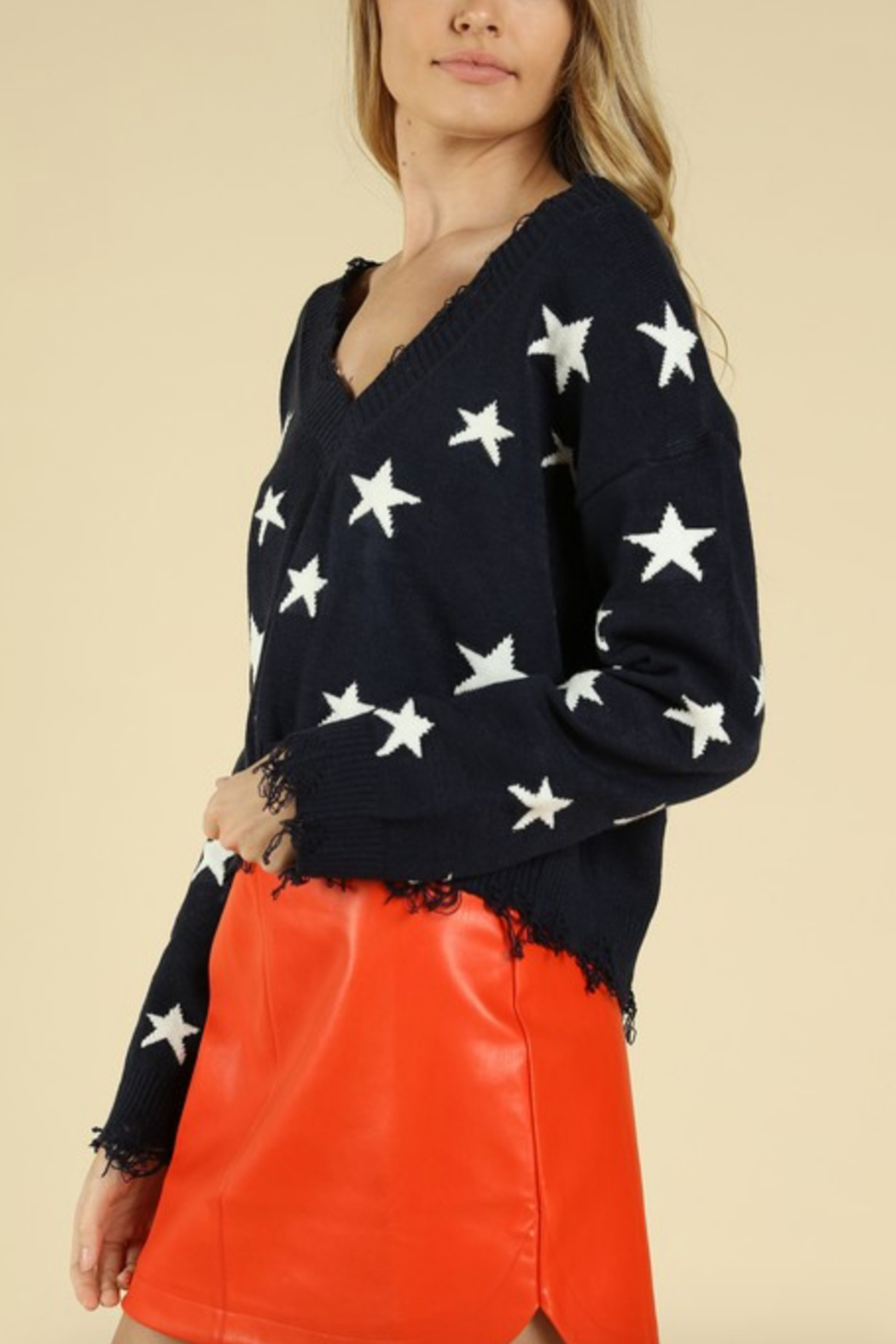 Honey Punch Distressed Star Print Sweater - Front Full Image