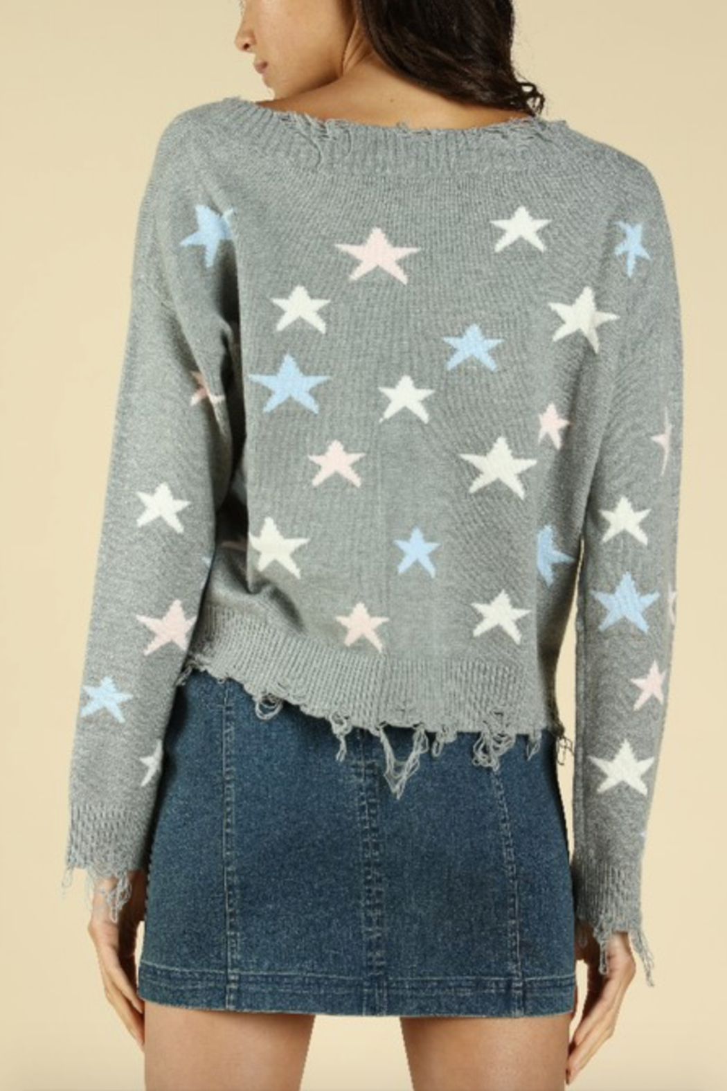 Honey Punch Distressed Star Print Sweater - Side Cropped Image