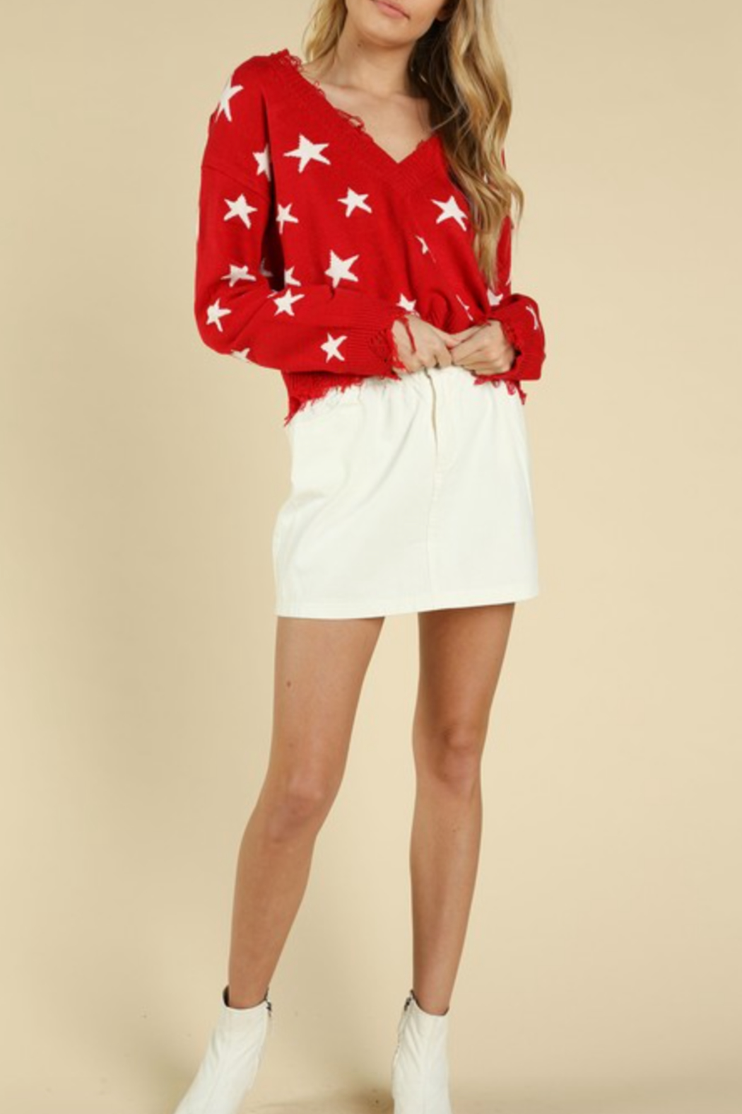 Honey Punch Distressed Star Print Sweater - Front Cropped Image