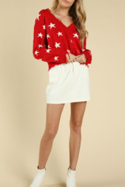 Honey Punch Distressed Star Print Sweater - Front cropped