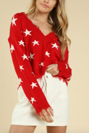 Honey Punch Distressed Star Print Sweater - Side cropped