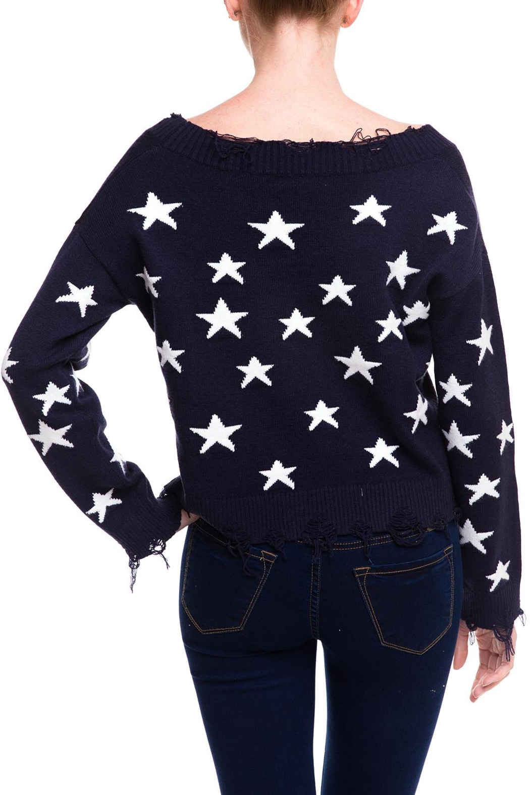 Honey Punch Distressed Star Sweater - Back Cropped Image