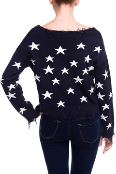 Honey Punch Distressed Star Sweater - Alternate List Image