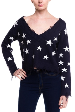 Honey Punch Distressed Star Sweater - Product List Image