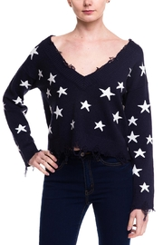 Honey Punch Distressed Star Sweater - Product Mini Image