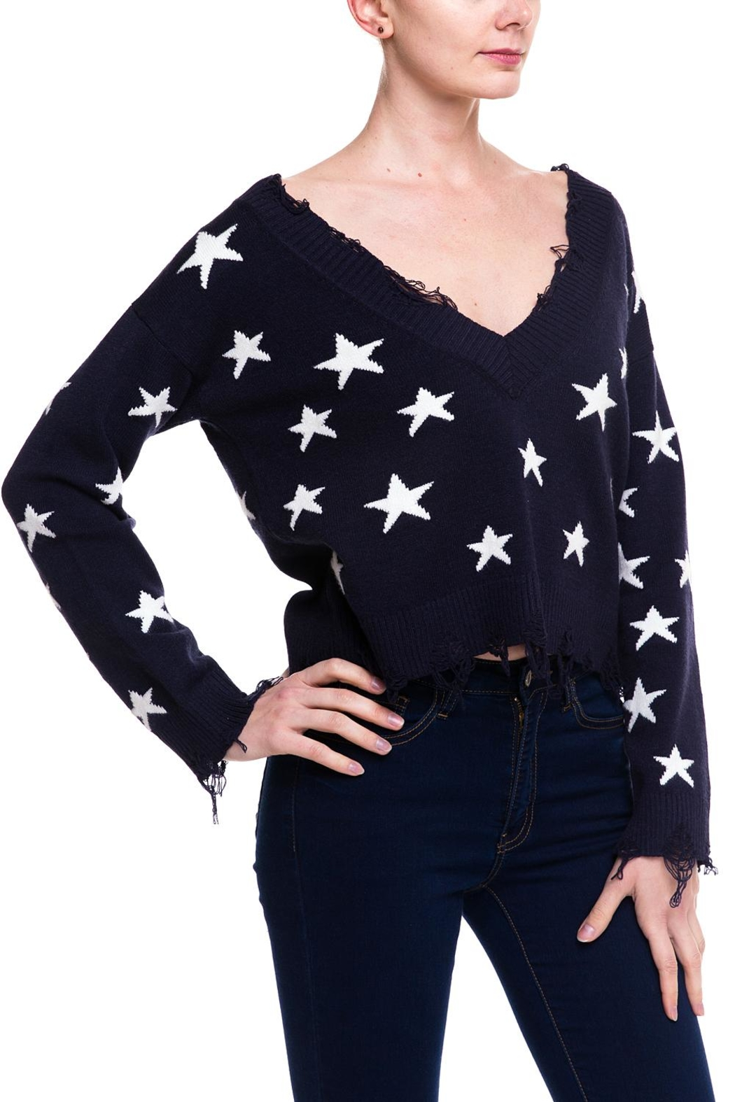 Honey Punch Distressed Star Sweater - Front Full Image